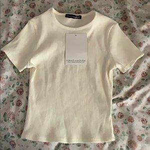 Naked wardrobe cream ribbed t shirt